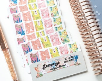 Flamingo Page Flag Stickers, 40 Count