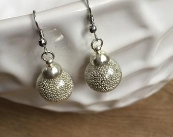 Glass orb silver earrings