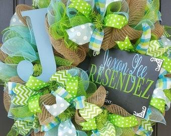 Baby Wreath - CUSTOM Birth Announcement Wreath - Nursery Wreath - Baby Boy Wreath - Baby Girl Wreath - Baby Shower Wreath - Newborn Wreath