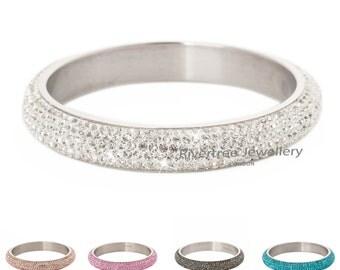Stainless steel bangle encrusted with Genuine Swarovski crystal b036