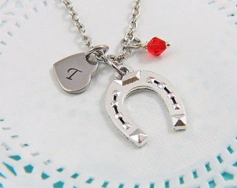 initial necklace,horseshoe necklace, initial letter necklace, personalized Initial necklace, initial name, custom name, letter necklace