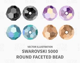 Vector Illustration of Swarovski 5000 Round Faceted Beads - Digital Clip art Set