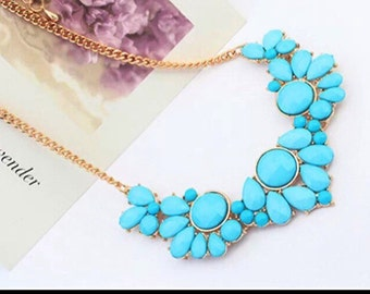 Turquoise blue statement bib necklace