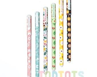 Pen - Flowery Pen Pack - 6 pieces   Colourful Pens   Pen Pack