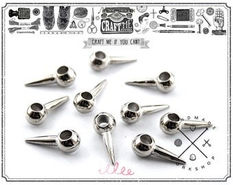 10PCS Silver Color Metal Spikes Beads Charms Pendants