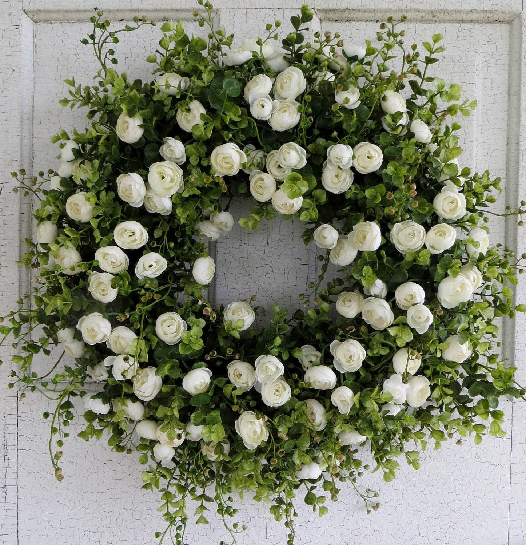White Ranunculus Wreath Front Door Wreath Summer Wreath
