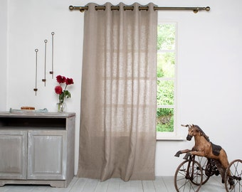 Linen Curtain Panel-Curtains-Natural  Curtain-Linen Window Panel- Window Curtain with Bronze Grommet -Custom length x 55''(140cm)