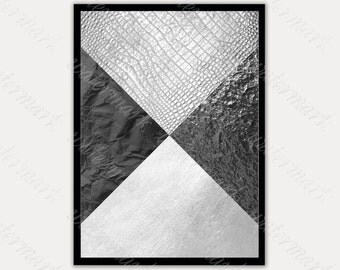 Black and silver Art Prints Modern wall Printable poster Digital, Instant Download.