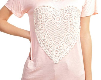 Lace doily heart patch top-LARGE