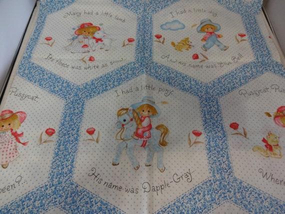 Nursery rhyme quilt baby fabric panel craft sew project 1yard for Baby nursery fabric yard