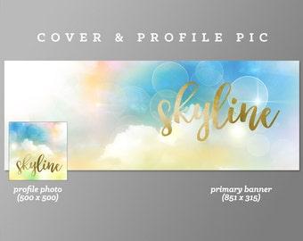 Timeline Cover + Profile Picture 'Skyline' Cover, Profile Picture, Branding, Web Banner, Blog Header | blue, sky, fluffy, gold, foil
