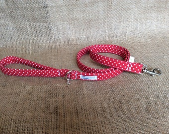 Red Spotty Padded Handle Dog Lead