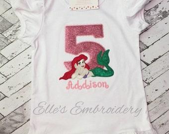 Ariel birthday shirt/ Personalized Ariel birthday shirt/ Mermaid birthday shirt/ Princess birthday shirt