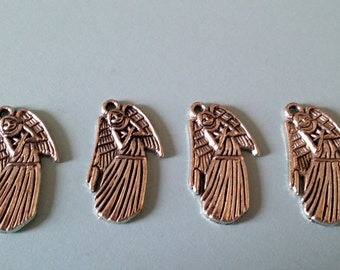 5 Antiqued Silver Weeping Angel Charms | Doctor Who | Dont Blink
