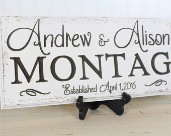 Custom Carved Name Sign Personalized Family Name Sign Wedding Gift