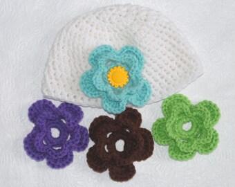Newborn Crochet Hat with Interchangeable Flowers Crochet