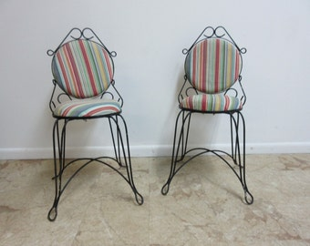 Pair Vintage Metal Wire Outdoor Patio Porch Bistro Chairs