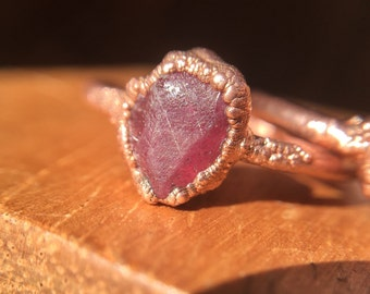 "Raw Ruby Ring - ""A Little Corundum"" - Electroformed Ruby Ring / Ruby Stacking Ring / Red Gemstone Ring / Pink Ruby Ring / July Birthstone"