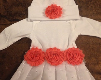 Shabby Chic Peach Baby Gown