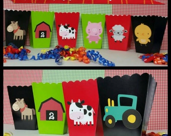 10 Barn/Farm Themed Snack/Favor Boxes, Farm Party Popcorn Box, Barnyard Favor Boxes
