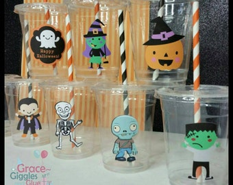 12 Personalized Halloween Themed Party Cups with Striped Straws, Costume  Party Cups