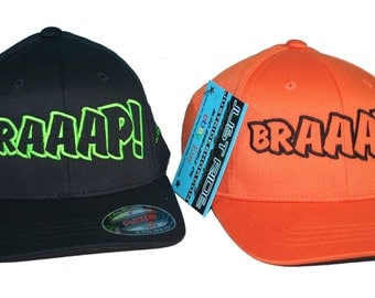 Braaap! Motocross Hat Cap Flexfit MX Moto Dirt Bike KTM Orange Kawasaki KX Youth Adult