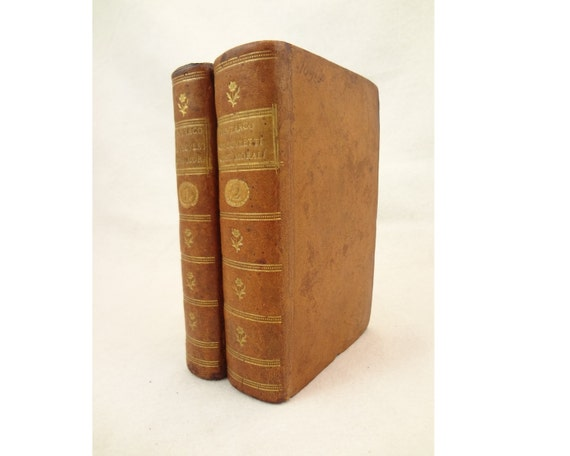 1559 Plutarch Moralia (Morals) in Italian, in two volumes, leather & gilt
