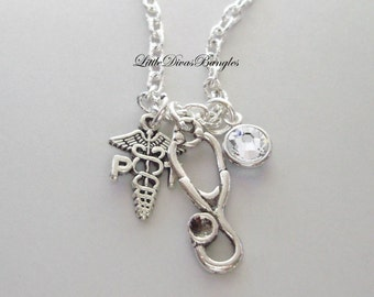 Physical Therapist / Stethoscope CHARM  / Necklace W/ Swarovski Birthstone / Md Necklace / Gift For Her / Under 20  Usa   NK1