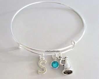 Megaphone Bangle Bracelet  W/ A Birthstone - Initial  Under Twenty / Cheerleader Charm Bangle / sport charms Gift  For Her USA  SC1