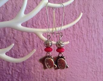 Cats Earrings - Silver plated Earrings - Kawaii Earrings - Silver Cat Earrings
