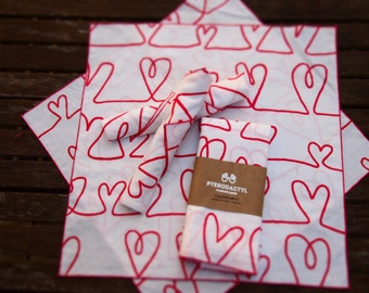 "Upcycled Cloth Napkins - Set of Six (6) - All of My Heart - 17"" Dinner Napkins (Valentine's Day)"