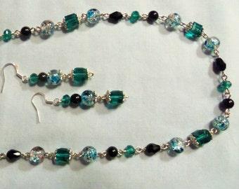Aqua Splendor, Necklace and Earring Set, 2 piece Set