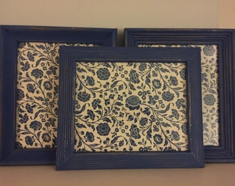 Navy Blue Distressed Shabby Chic Pictures Frames