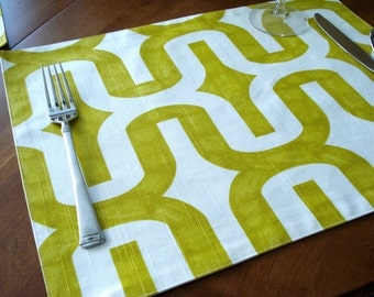 Cotton Handmade Placemats  Chartruese and White Geometric Print - Set of 4 / Ready To Ship /Table Linens