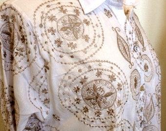Khaki embroidery on White Pong Swing Blouse