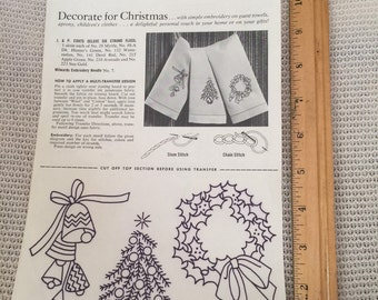 Vintage Transfers and instructions for Christmas Tree, wreath and bell