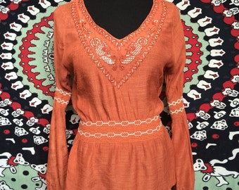 Gypsy Tangerine Flow Blouse Size X-S/SMALL