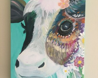 Second handmade yet still original by tweaking a few things as customer wanted flower cow canvas