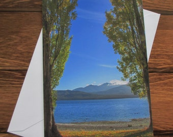 Landscape Greetings card C5 Portrait - Lake framed by Autumn Trees