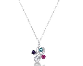 Custom Four Stone Swirl Necklace with Rolo Chain