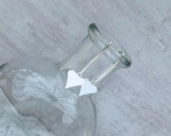 Polished Heart Sterling Silver Wire Earrings – – Heart – Sterling Silver – Wire - Earrings - Everyday Wear - Gift
