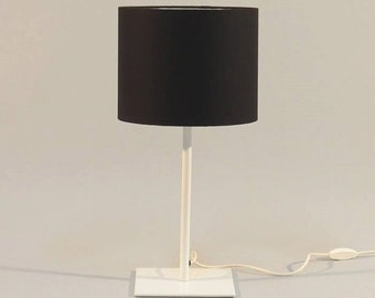 Handmade Table lamp with drum lampshade made from metal and fabric for every home or office, different colors of the lampshades