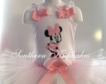 Disney Inspired Shy MINNIE MOUSE Light PiNK Tutu Pettiskirt Casual Wear Theme Pageant Birthday Party NWT New All Sizes Custom Set 0-14yrs