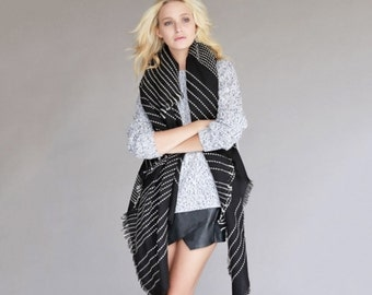 Black Stripe Fringe Blanket Scarf, Cozy Bohemian Scarf, Stripe Shawl, Christmas, Gifting, Handmade Accessory, Pink Arrows Boutique