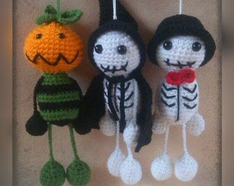 Halloween Ornaments - Pumpkin Head and two Skeletons Set of three