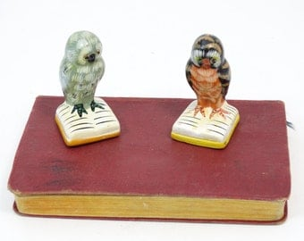 Vintage owls - Ceramic owl figurines - Two owls on books - Collectible owls - Collectible figurines - Owl decoration - Owl lovers