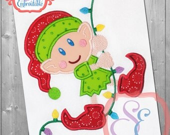 Light Swinging Elf Applique Design For Machine Embroidery  INSTANT Download