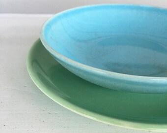Mid century - 1950's - Ballerina Ceramic - Green Saucer - Blue Bowl - Pastels