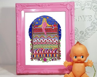 the Princess and the pea fairytale illustration instant digital download.