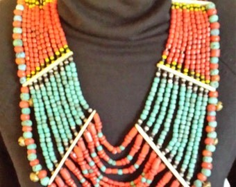 Multi-Strand, Multi-color Vintage Beaded Necklace